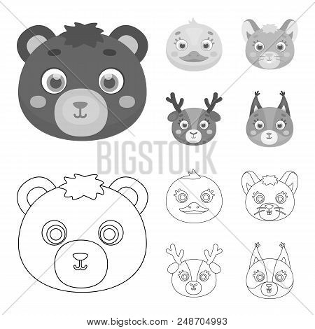 Bear, Duck, Mouse, Deer. Animal Muzzle Set Collection Icons In Outline, Monochrome Style Vector Symb