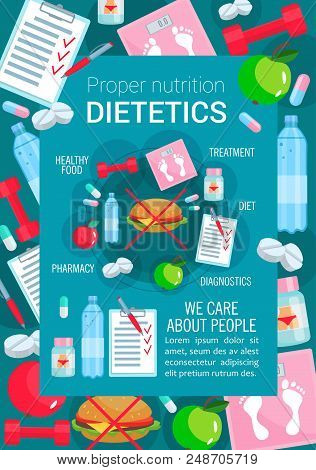 Dietetics And Proper Nutrition Poster For Healthy Food And Diet. Vector Apple Fruit And Low Fat Meal
