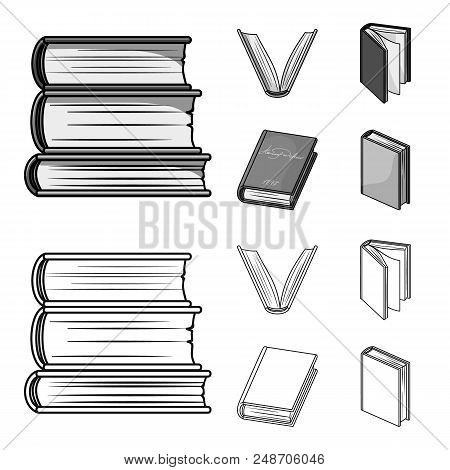 Various Kinds Of Books. Books Set Collection Icons In Outline, Monochrome Style Vector Symbol Stock