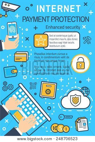 Internet Payment Protection And Online Secure Technology For Financial Transaction. Vector Thin Line