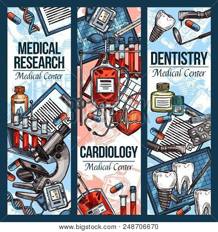 Dentistry And Cardiology Medical Sketch Banners For Health Clinic And Treatment. Vector Dental And C