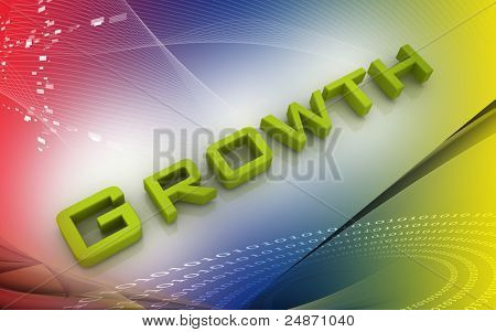 Digital illustration of Business Graph in 3d on colour background