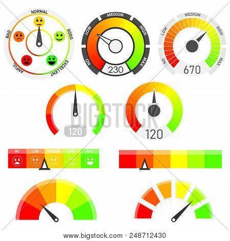 Gauges Vector Set. Credit Score Indicators With Color Levels From Low To Max. Abstract Concept Graph