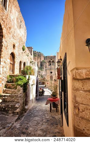 Monemvasia, the medieval castle town, is located in Laconia, Peloponnese, Greece, on a small island, the town is a medieval fortress with Byzantine churches.