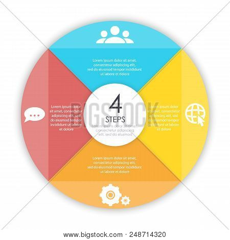 Business Concept Of Circle Infographic Template With 4 Options For Graph, Presentation And Round Cha
