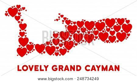 Valentine Grand Cayman Island Map Composition Of Red Hearts. We Like Grand Cayman Island Map Concept
