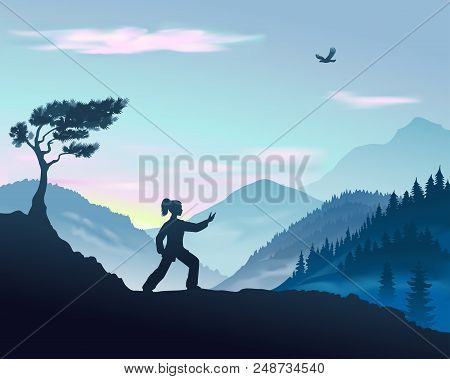 Vector Illustration Of Yang Woman Performs The Form Of Tai Chi In The Mountains