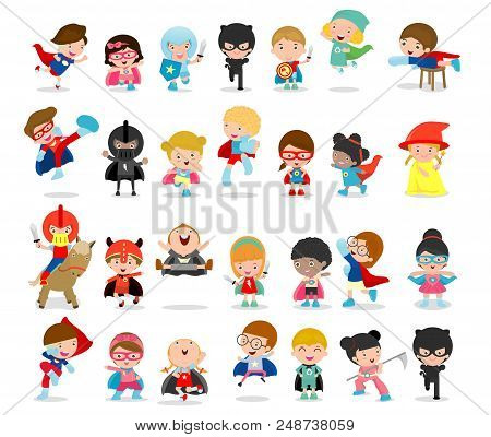 Cartoon Big Set Of Kid Superheroes Wearing Comics Costumes,kids With Superhero Costumes Set, Kids In