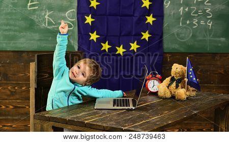 Idea Concept. Little Child Got Creative Idea In Classroom With Eu Flag. Genius Child Create Idea Wit