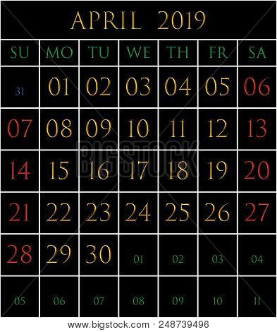 2019 Calendar For The Month Of April On Black Background Rectangles Bordered With White