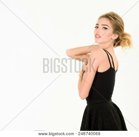 Beautiful Girl In Little Black Dress. Beauty And Fashion. Trendy Clothes. Model In Black Dress. Cute