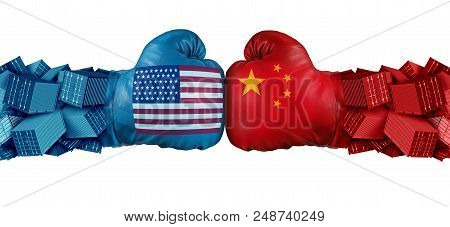 China United States Or Usa Trade And American Tariffs Conflict With Two Opposing Trading Partners As