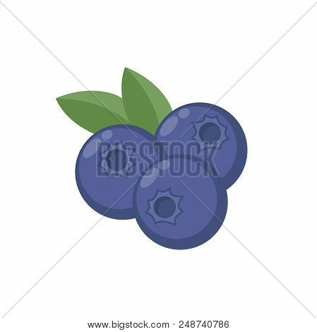 Blueberries With Leaf Vector Icon. Blueberry Icon Clipart. Blueberry Cartoon.