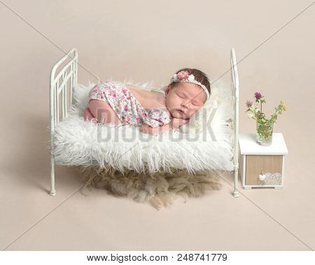 Cute sleeping newborn baby girl in the little bed