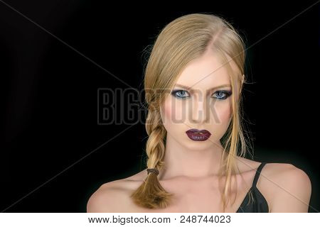 Makeup look and skincare of sensual girl. Hairdresser and beauty salon. Girl with pigtail blond hair. Sexy woman with blonde hair isolated on black. Fashion model with makeup and stylish hairdo poster