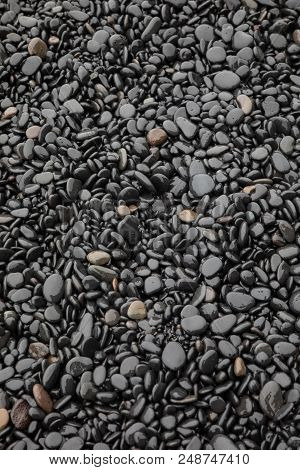 Black Stones On A Beach On The South Coast Of Iceland