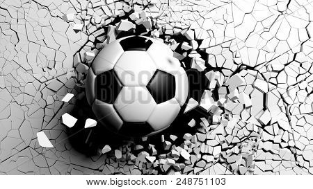 Soccer ball breaking with great force through a white wall. 3d illustration.