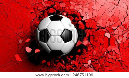 nSoccer ball breaking with great force through a red wall. 3d illustration.