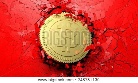 Cryptocurrency breakthrough concept. Bitcoin breaking with great force through a red wall. 3d illustration