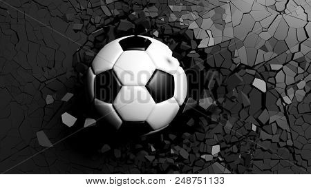 Soccer ball breaking with great force through a black wall. 3d illustration.