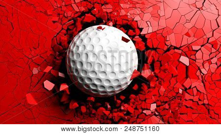 Golf ball breaking with great force through a red wall. 3d illustration.