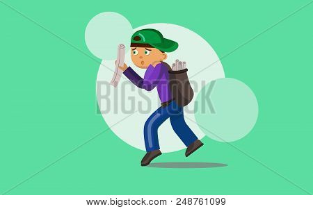 Paperboy. Cute Boy With Newspaper. Cartoon Vector Illustration.