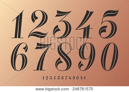 Numbers Font. Classical Elegant Font Of Numbers With Contemporary Vintage Design. Beautiful Elegant