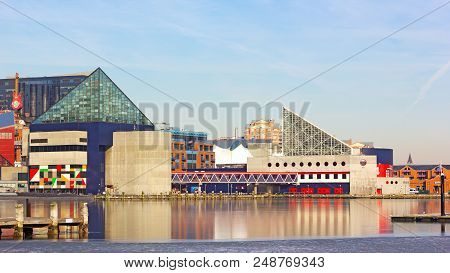 Baltimore, Usa - January 31, 2014: National Aquarium Buildings At Inner Harbor Pier On January 31, 2