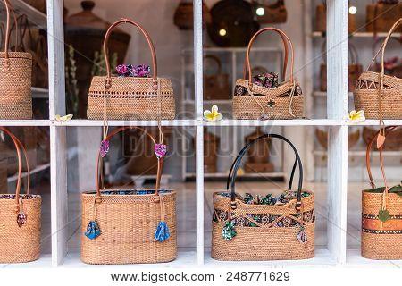 Stylish Rattan Handbags On The Storefront. Bali Island. Indonesia.