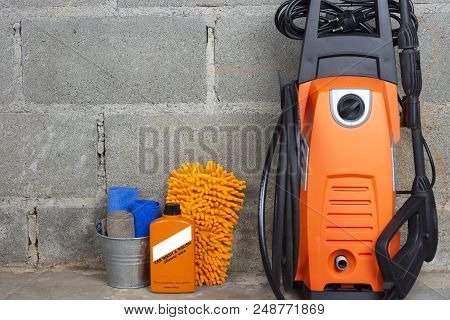 Car Wash Equipment Or Car Cleaning Product Such As Microfiber Tank And Pressure Washer And Glass Cle