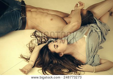 Couple In Love. Erotic, Desire Concept. Relationship, Family, Lovers. Couple In Love Relax On White