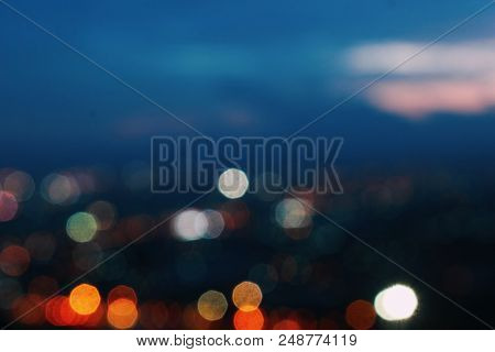 Night Light Blue City Bokeh Background Abstract Background Blur Lens Shine Glitter Beautiful Circle