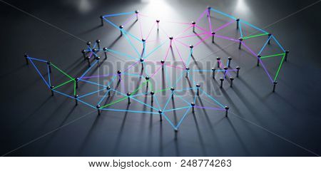 Linking entities. Networking, social media, SNS, internet communication abstract. Network connected with incom. Web glowing blue, green, red, purple wires in long shadow. Shallow DOF.