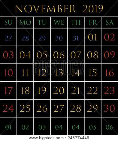 2019 Calendar For The Month Of November On Black Background Rectangles Bordered With White