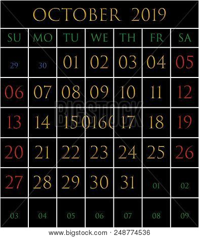 2019 Calendar For The Month Of October On Black Background Rectangles Bordered With White