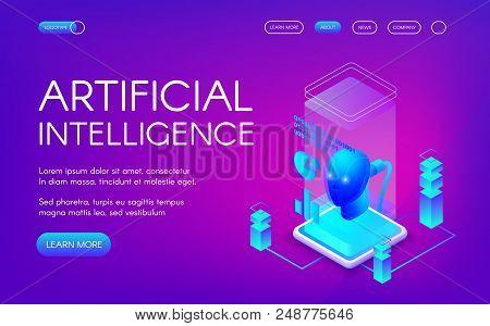 Artificial Intelligence Vector Illustration Of Future Innovation Technology. Digital Human Brain Or