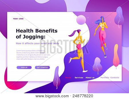 Landing Page Template Of Healthy Lifestyle, Womens Fitness, Jogging Modern Flat Design Concept Of We