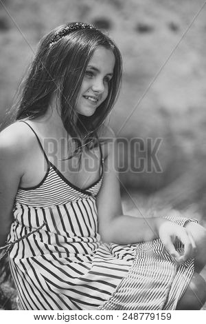Girl Teenager. Teen, Teenage, Youth, Lifestyle. Girl Teenager Happy Smile With Long Hair In Summer D