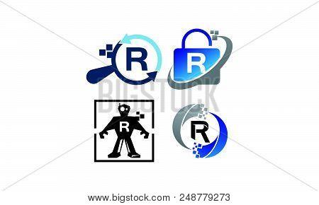 Technology Application R Set Logo Design Template Vector