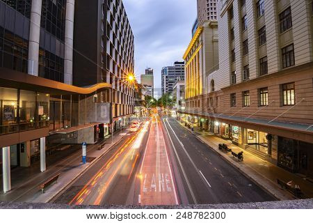 Brisbane, Australia - Saturday 28Th April, 2018: View Of Traffic On Adelaide Street In Brisbane Cbd
