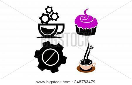 Coffee Cup Restaurant Logo Design Vector Template Set