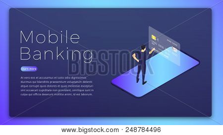Mobile Banking. Mobile Bank App Isometric Concept. Online Banking Hero Image Design.