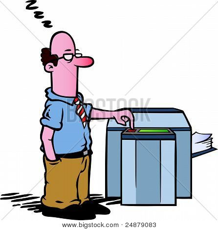 Employee at the copy machine