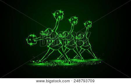 Group Of Cheerleaders Dances With Pom Poms. Green Neon Cheerleading Background For Sporting Poster E