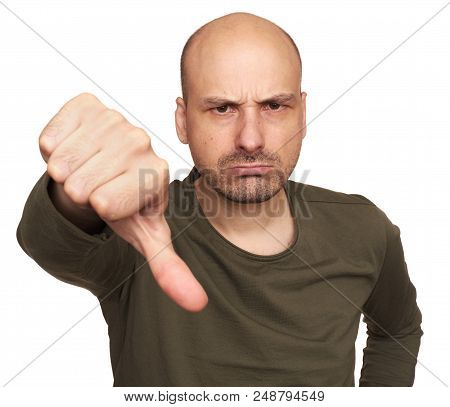 Angry Guy With Thumbs Down. Isolated