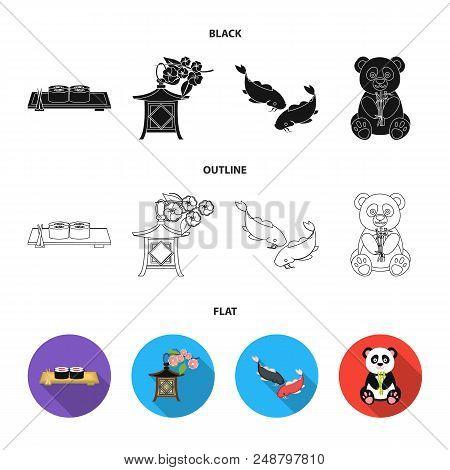 Sushi, Koi Fish, Japanese Lantern, Panda.japan Set Collection Icons In Black, Flat, Outline Style Ve