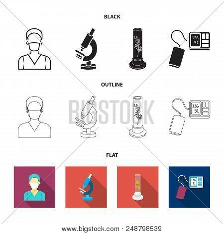 Plant In Vitro, Nurse, Microscope, Tonometer. Medicine Set Collection Icons In Black, Flat, Outline