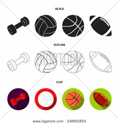 Blue Dumbbell, White Soccer Ball, Basketball, Rugby Ball. Sport Set Collection Icons In Black, Flat,