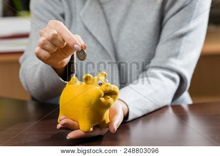 Woman Putting Coins In A Funny Piggy Bank. Concept Of Future, Business, Saving Money, Economy And In