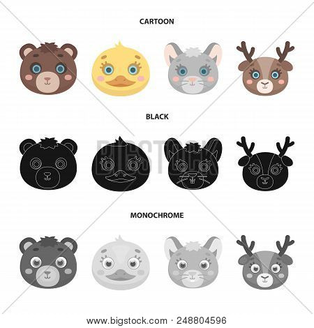Bear, Duck, Mouse, Deer. Animal Muzzle Set Collection Icons In Cartoon, Black, Monochrome Style Vect